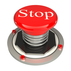 The red button, stop, 3d concept isolated