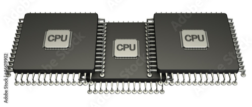 Three computer chip processor. Icon 3D. isolated