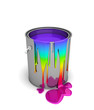 Rainbow bucket isolated on white