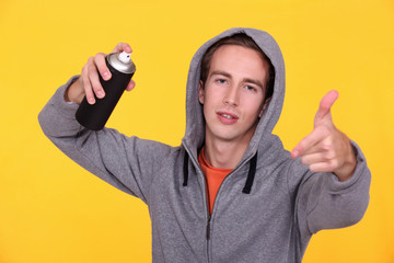 Youth with an aerosol