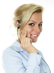 Charming confident blond girl with headphone