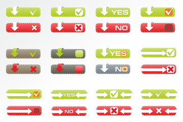 Set of buttons: yes, no