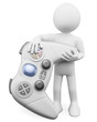 3D white people. Child with a gamepad