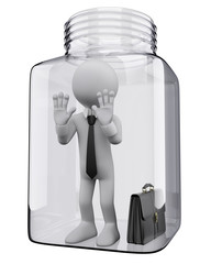 3D white people. Businessman in a glass jar