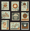 set of stamps on the theme of coffee
