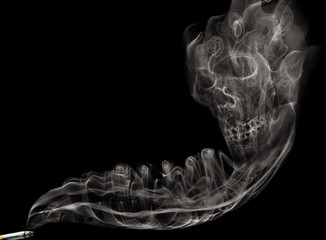 Cigarette smoke skull