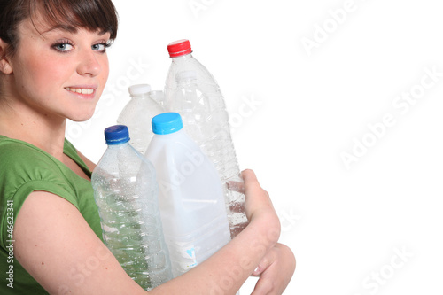 Woman about to recycle