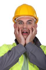 Portrait of expressive building worker