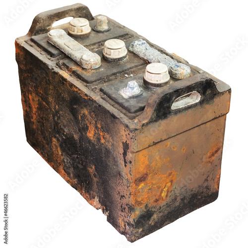 Leinwanddruck Bild Rusty old car battery isolated on white