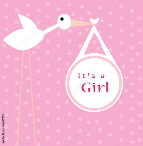 Its a girl vector announcement card