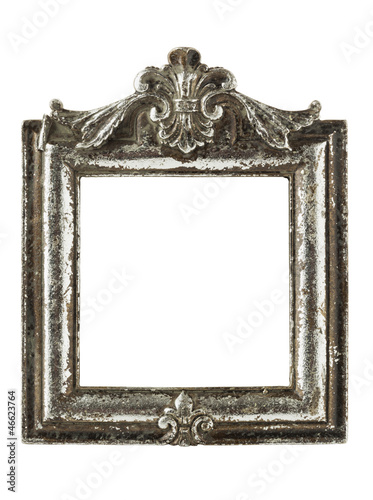 Stained square silver picture frame w/ clipping path