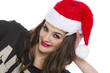 Young attractive female in santa hat