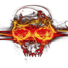 flames skull on white background