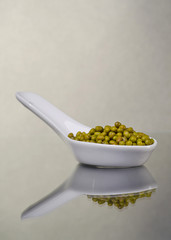 Mung beans in a ceramic bowl