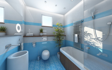 Light Bahtroom Blue White Tile