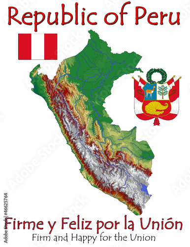 Peru South America national emblem map symbol motto