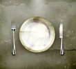Dinner place setting, old-style