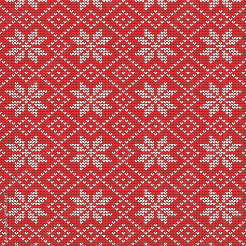 Knitted snowflakes background, seamless pattern included
