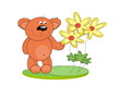 Bear cub with flower