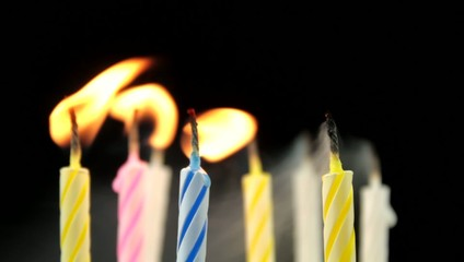 Birthday candles and blowing.