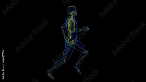 athletic man running with a view of the skeleton