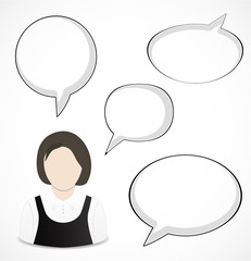 Woman and speech bubbles