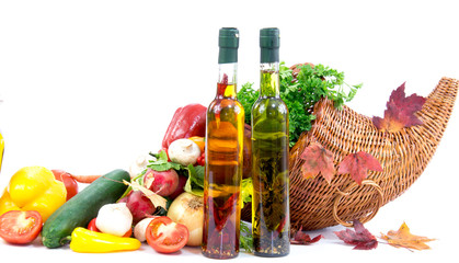 Autumn cornucopia, olive oil and group of vegetables