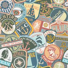 Nautical Badges seamless pattern