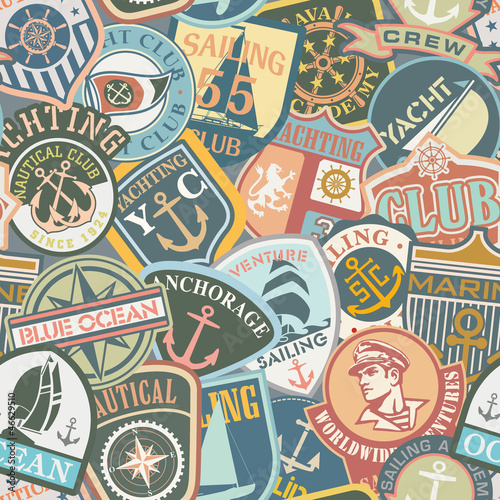 Wall mural Nautical Badges seamless pattern