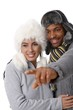 Portrait of young loving couple at wintertime