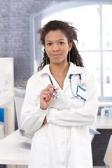 Portrait of attractive female doctor smiling