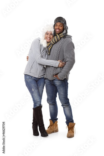 Winter photo of happy couple