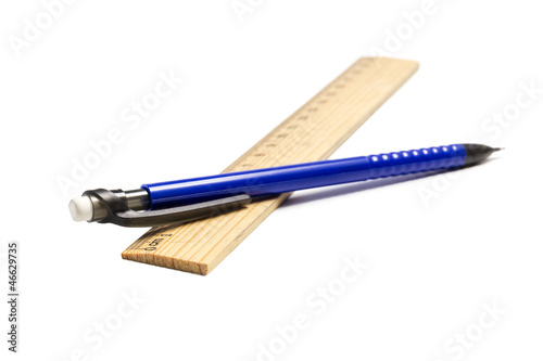 wood ruler and mechanical pencil