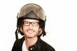 Rollerfahrer mit seinem Helm