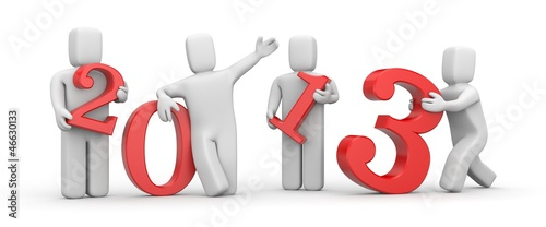 People with digits. New Year metaphor