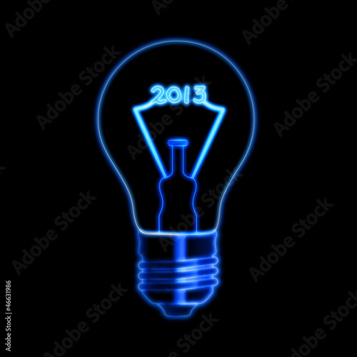 glowing year 2013 in bulb