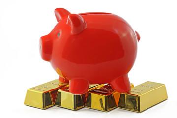 sparschwein mit gold