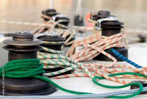 sailing ropes over boat deck