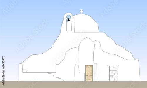 traditional church in Mykonos vector
