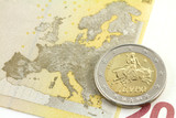 Two euro coin. Europe and the bull