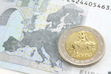 Two euro coin . Europe and the bull