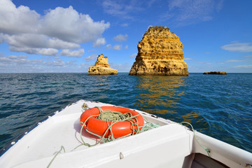 Yellow cliffs in Lagos in the Algarve, Portugal