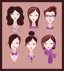 collection of girls with neck accessories