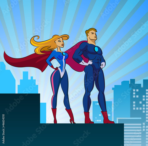 Staande foto Superheroes Super Heroes - Male and Female