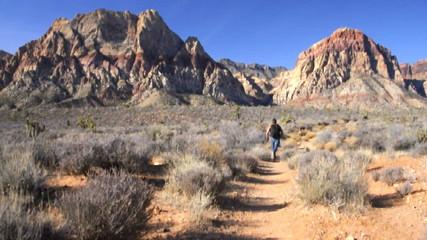 Trail run in desert