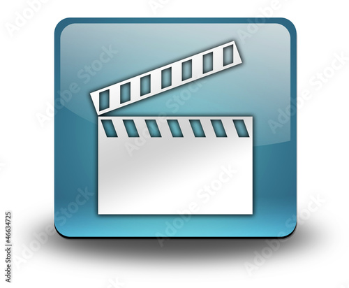 "Light Blue 3D Effect Icon ""Clapperboard"""