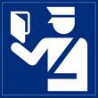 Schild blau - Paßkontrolle