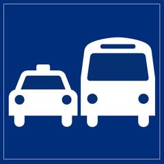 Schild blau - öffentliche Verkehrsmittel