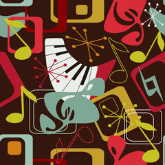 Musical seamless pattern in retro style