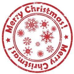 merry christmas snowflakes stamp